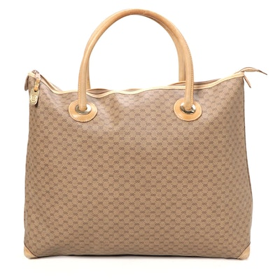 Gucci Tote in Micro GG Coated Canvas and Leather