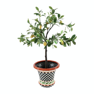 Decorative Lemon Tree in Black and White Checkered Planter, Contemporary