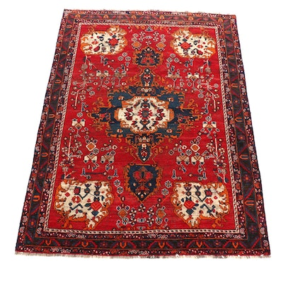 6' x 8'6 Hand-Knotted Persian Floral Pictorial Wool Rug