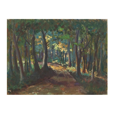 Michael Lemmermeyer Oil Painting of a Forest Road, Mid-20th Century