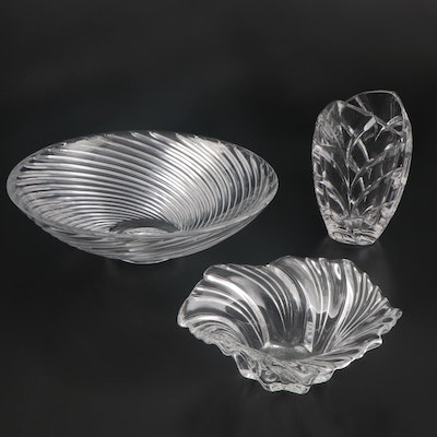 "Tiffany & Co. Crystal Bowl, Marquis by Waterford ""Palma"" Vase and Other Bowl"