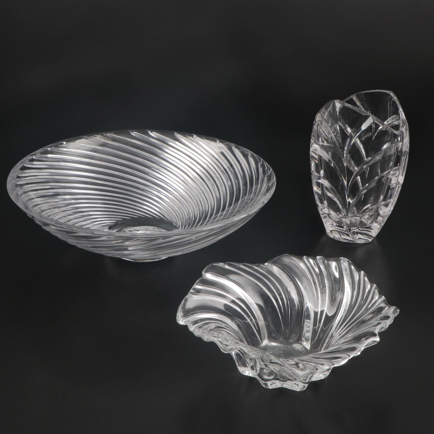 """Tiffany & Co. Crystal Bowl, Marquis by Waterford """"Palma"""" Vase and Other Bowl"""