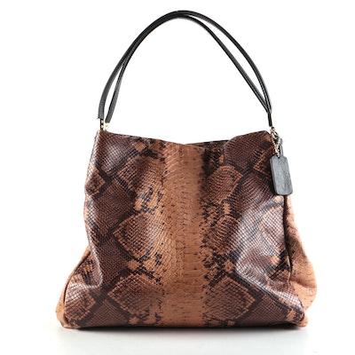 Coach Phoebe Python Embossed Brown Leather Shoulder Bag