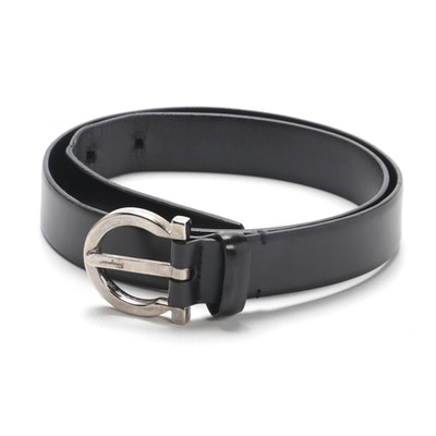 Salvatore Ferragamo Gancini Belt in Black Leather