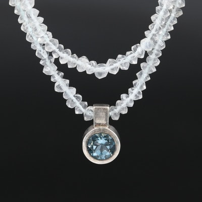 Sterling Bezel Set Topaz Pendant on Rock Crystal Quartz Beaded Necklace
