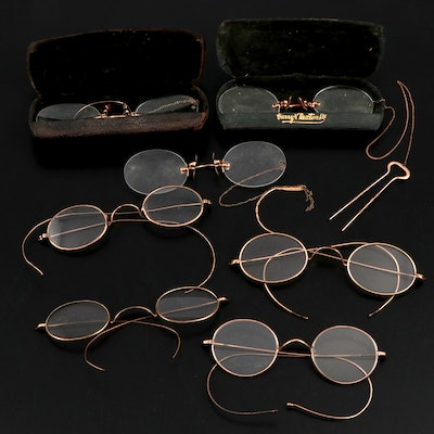Shuron and Fits-U Pince Nez Reading Glasses with Other Wire-Rimmed Eyeglasses
