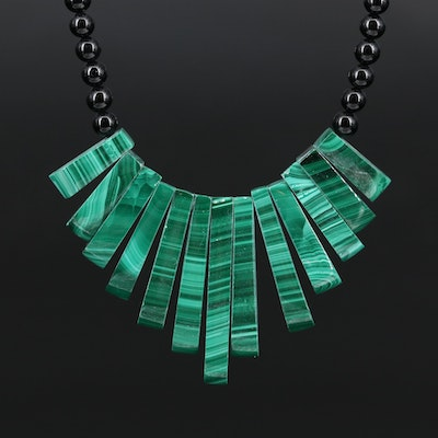 Malachite and Black Onyx Beaded Necklace