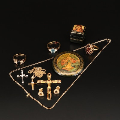 Rhinestone and Resin Jewelry Including Painted Box and 14K Accent