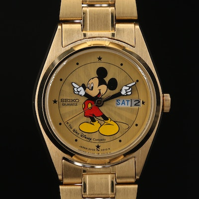 Seiko Mickey Mouse Wristwatch with Day and Date Window