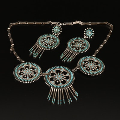 Vincent Johnson Zuni Sterling Turquoise Petit Point Necklace and Earring Set