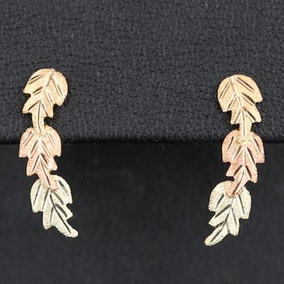 12K Tri-Color Leaf Drop Earrings