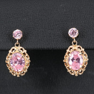 14K Cubic Zirconia Dangle Earrings
