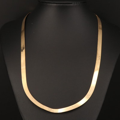 14K Herringbone Necklace