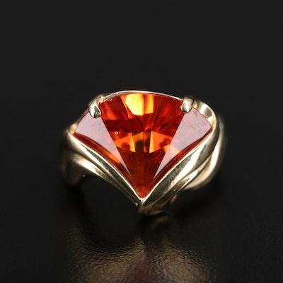 14K Fan Faceted Sapphire Ring