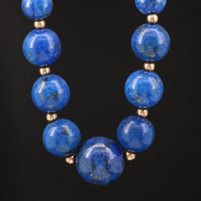 14K Graduated Lapis Lazuli Beaded Necklace