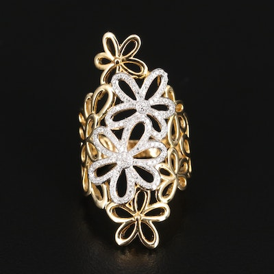 Sterling Silver Diamond Floral Shield Ring