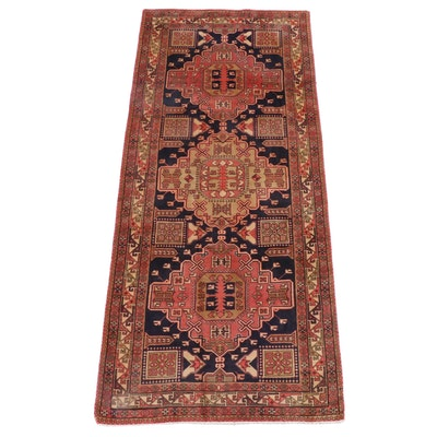 4'4 x 10'3 Hand-Knotted Caucasian Shirvan Wool Long Rug