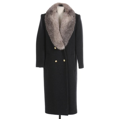 J.G. Hook Black Wool Double-Breasted Coat with Fox Fur Collar