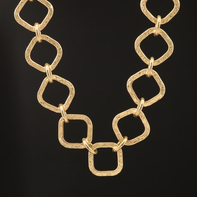 14K Textured Square Link Necklace