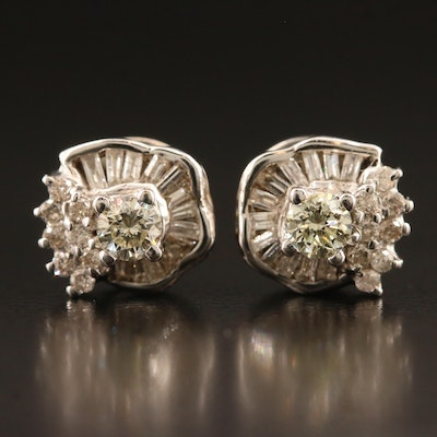 Vintage 14K 0.80 CTW Diamond Stud Earrings