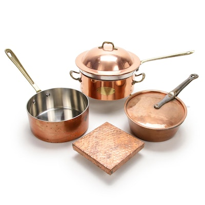 Cordon Bleu And Other Copper Pots and Trivet, Late 20th Century
