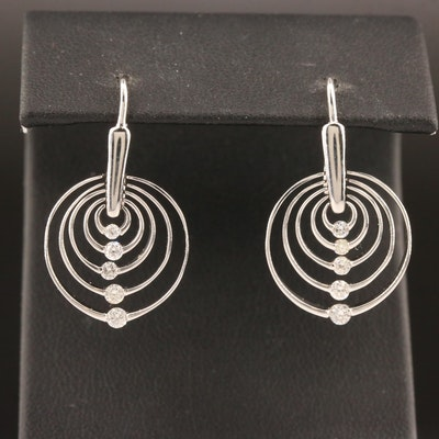 10K Diamond Concentric Circle Earrings