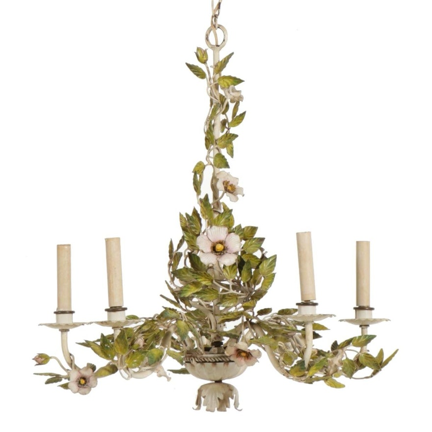 Blooming Flower and Vine Tole Chandelier, Early to Mid 20th Century