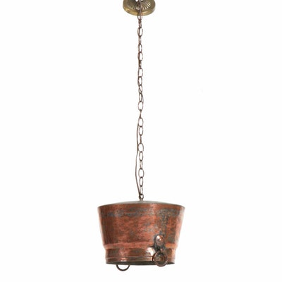 Converted Hammered Copper Kettle Pendant Light