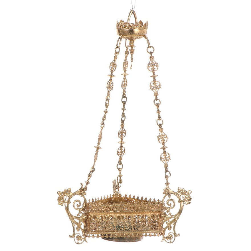 Pierced Brass Hanging Basket, Early to Mid 20th Century