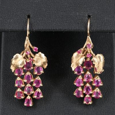 14K Ruby Grape Cluster Earrings