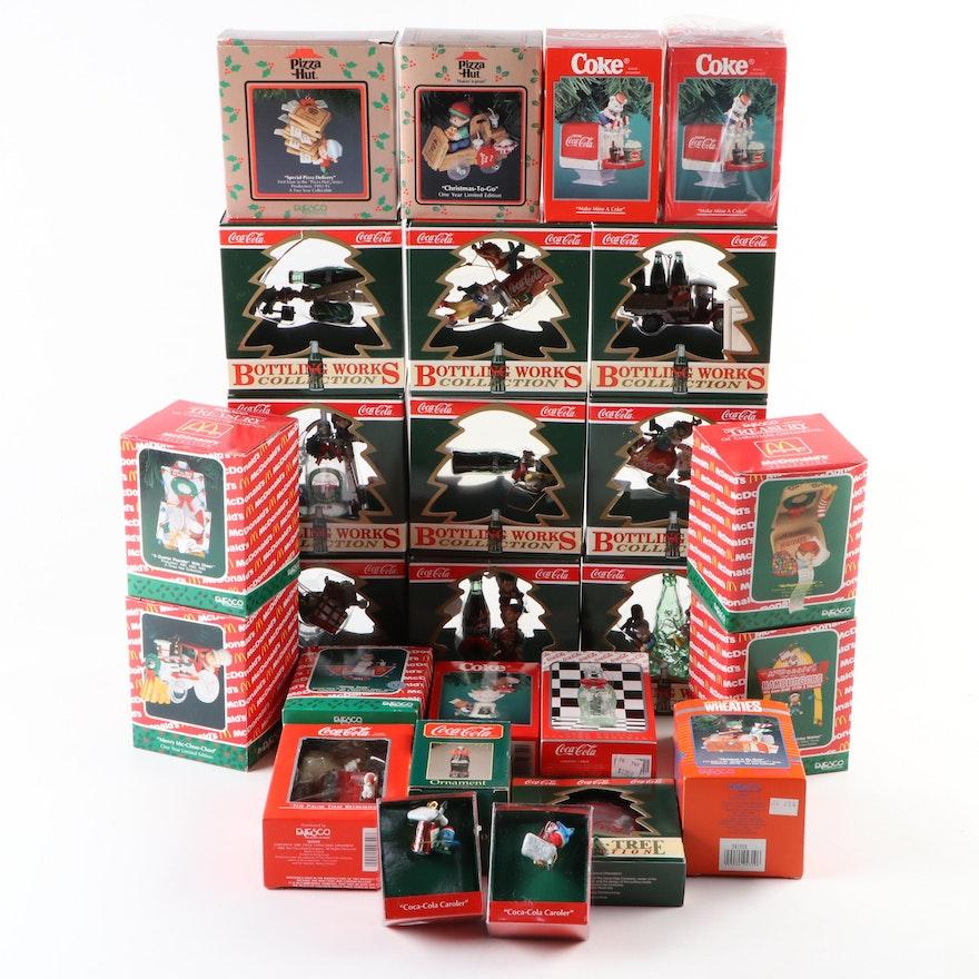 Christmas Tree Ornaments Including Coca-Cola and McDonald's, 1989–1996