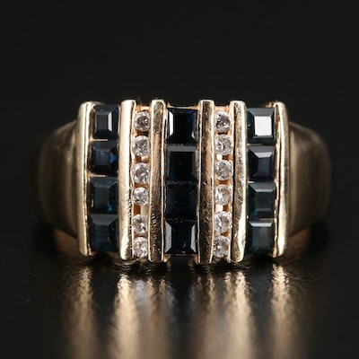 14K Sapphire and Diamond Multi-Row Ring