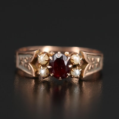 Victorian 10K Garnet and Seed Pearl Ring