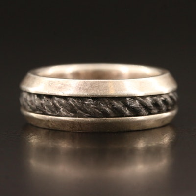 David Yurman Sterling Silver and Forged Carbon Ring