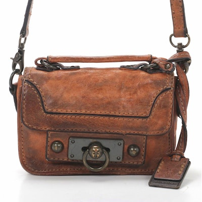 Frye Flap Front Crossbody Bag in Distressed Brown Grained Leather