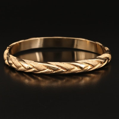 14K Textured Oval Hinged Bangle