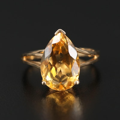 Sterling Silver Citrine Teardrop Ring