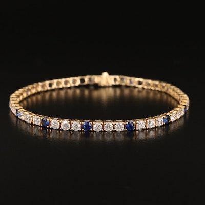 14K Sapphire and Cubic Zirconia Line Bracelet
