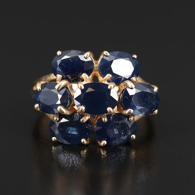 10K Oval Faceted Sapphire Ring