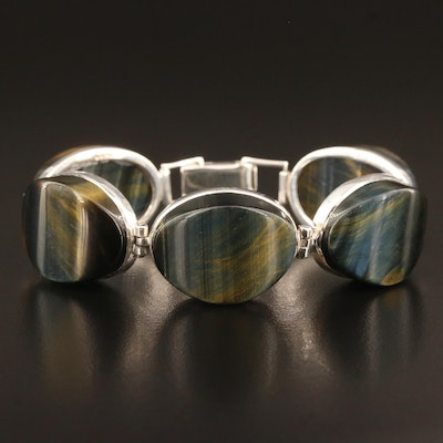 Sterling Tiger's Eye Panel Bracelet