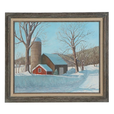 J. Webber Winter Landscape Oil Painting of Barn, Late 20th Century