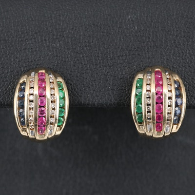 10K Ruby, Sapphire, Emerald and Diamond Button Earrings