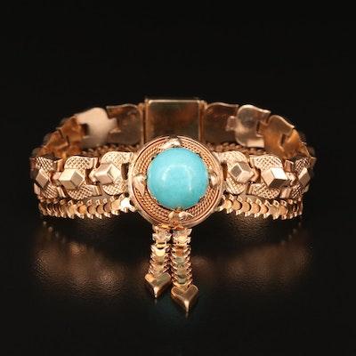Vintage Style 14K Turquoise Fancy Link Bracelet