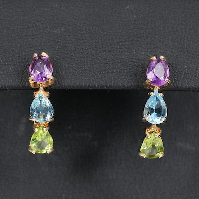 14K Amethyst, Topaz and Peridot Drop Earrings