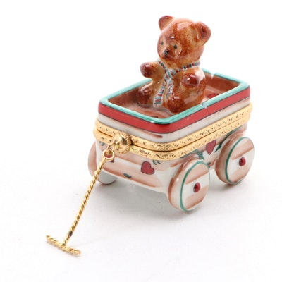 Rochard Teddy Bear in Wagon Porcelain Limoges Box