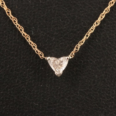 14K 0.21 CT Diamond Solitaire Necklace