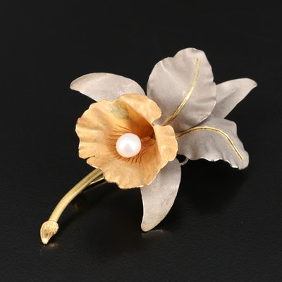 14K Pearl Flower Brooch
