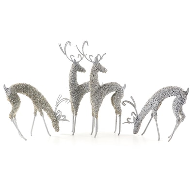 Metal, Glitter and Bead Reindeer Ornaments