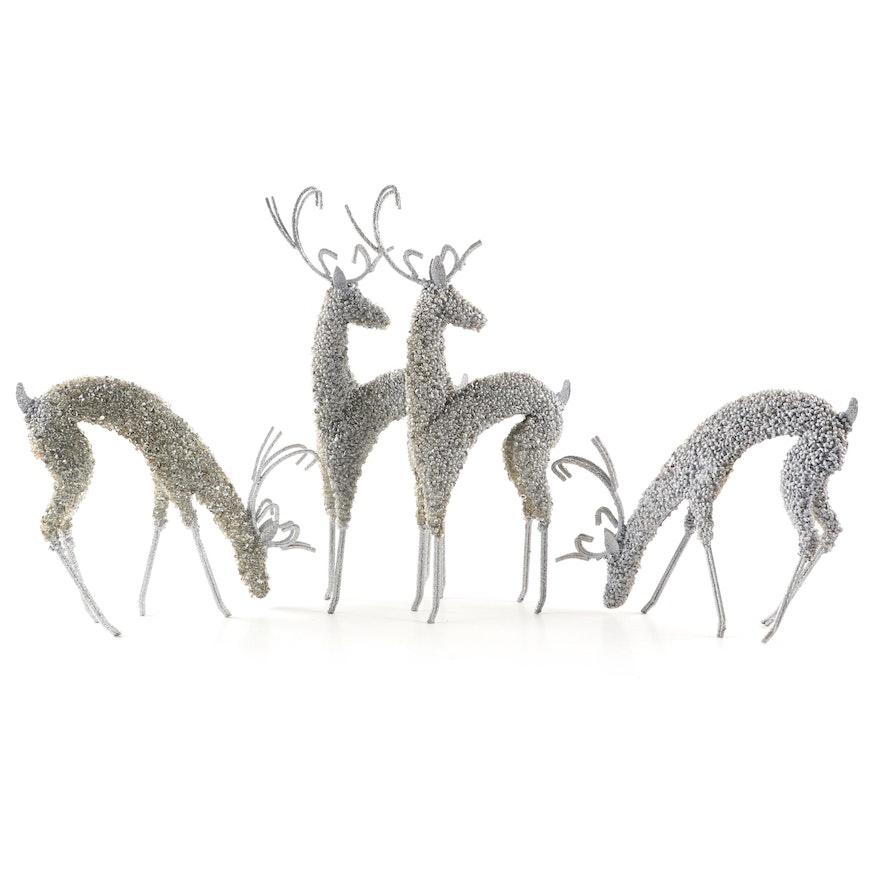 Metal, Glitter and Bead Reindeer Ornaments