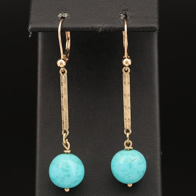 14K Turquoise Drop Earrings
